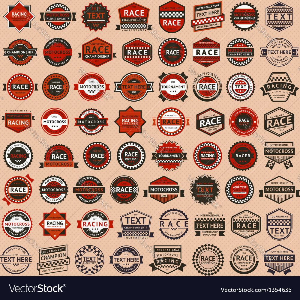 Racing badges  vintage style big set vector