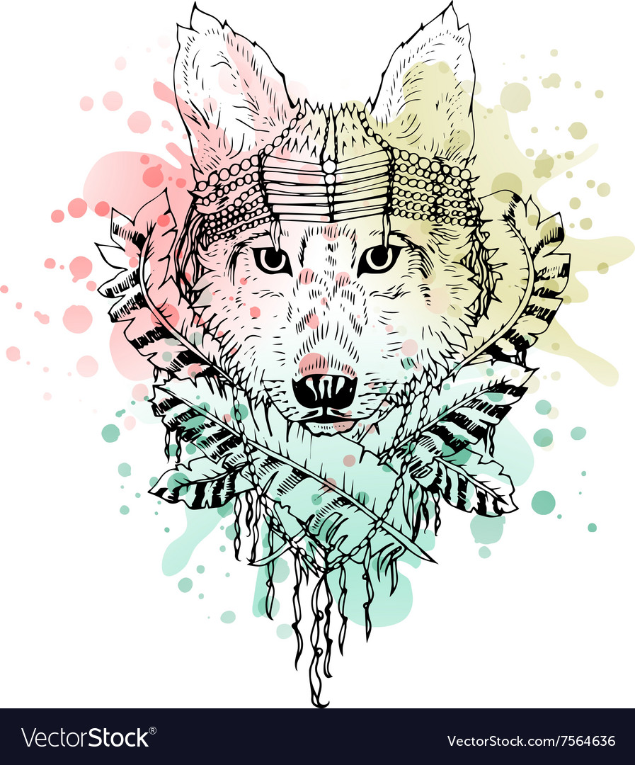 Black and white wild animal wolf head abstract vector
