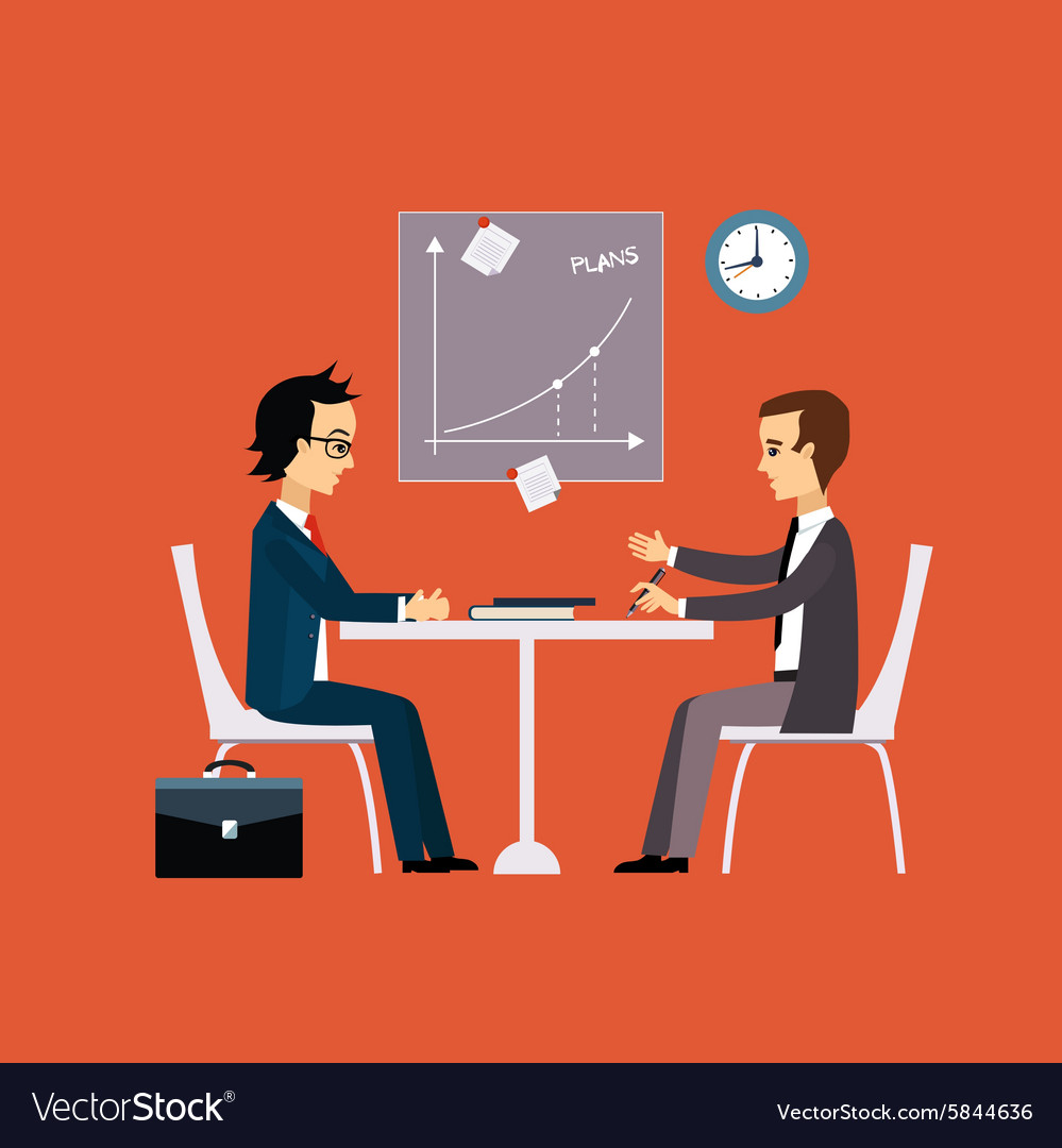 Business people two men at the table negotiating vector