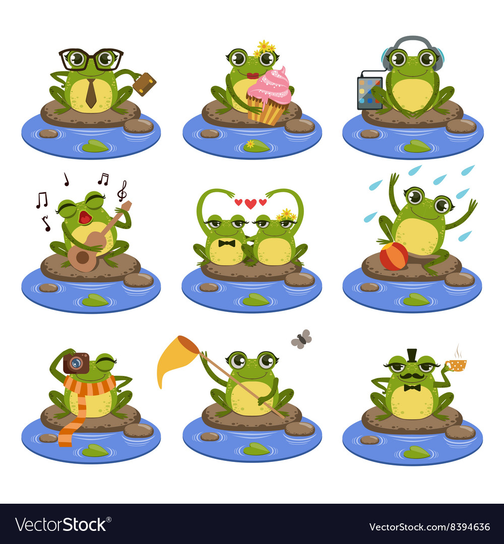 Frogs sitting on the stone character set vector