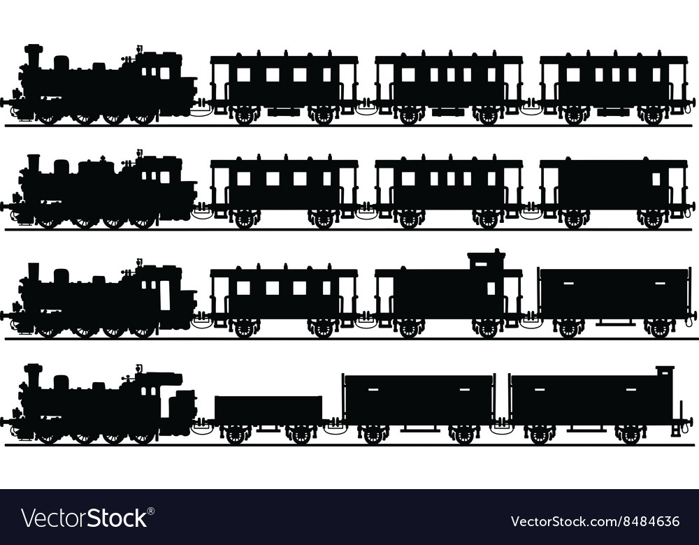 Vintage steam trains vector