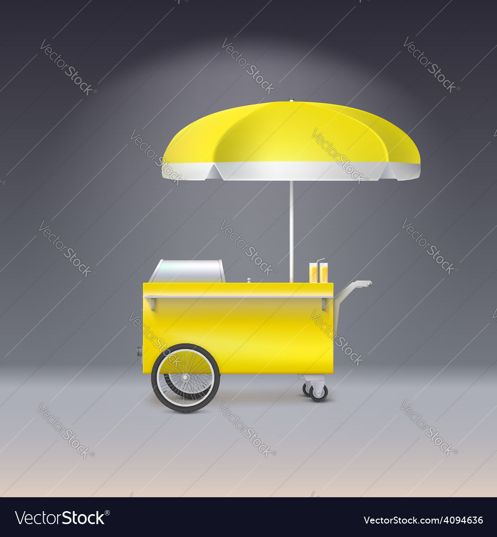 Yellow cart for sale lemonade vector