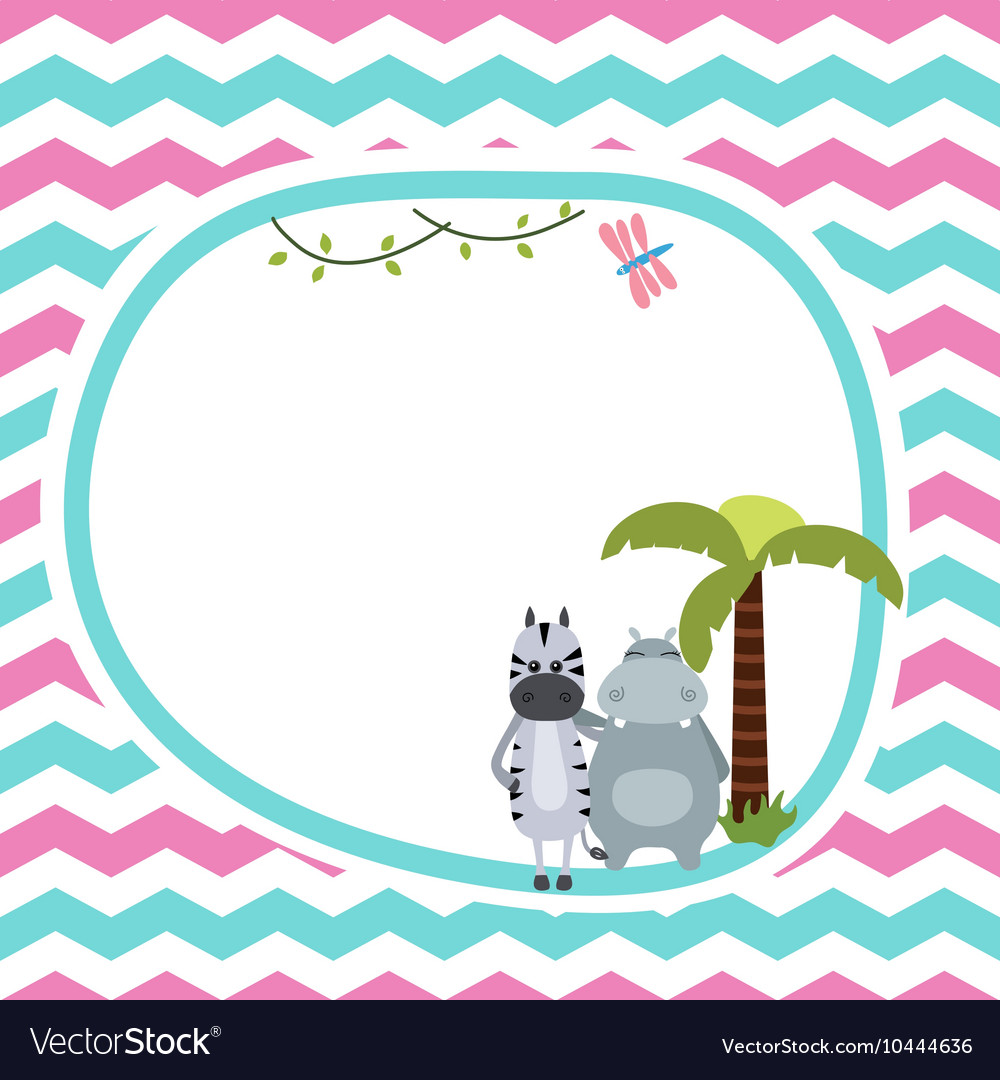 Zebra and hippo vector