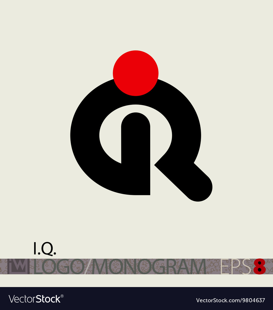 Iq logo monogram or intelligence symbol vector