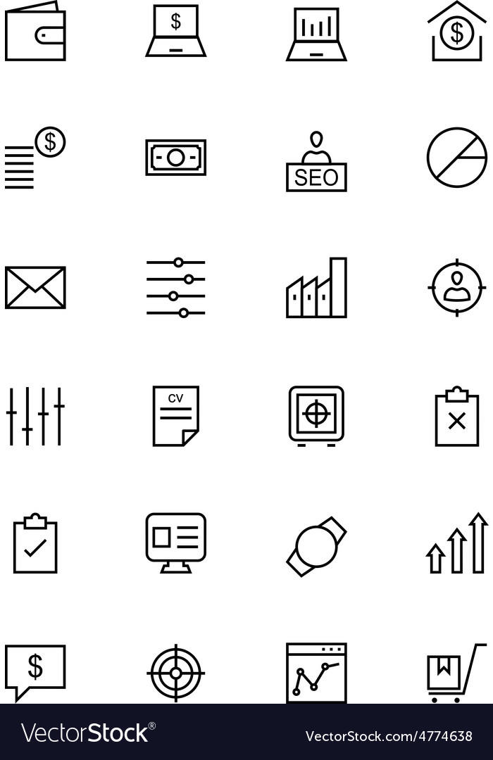 Business and finance line icons 3 vector
