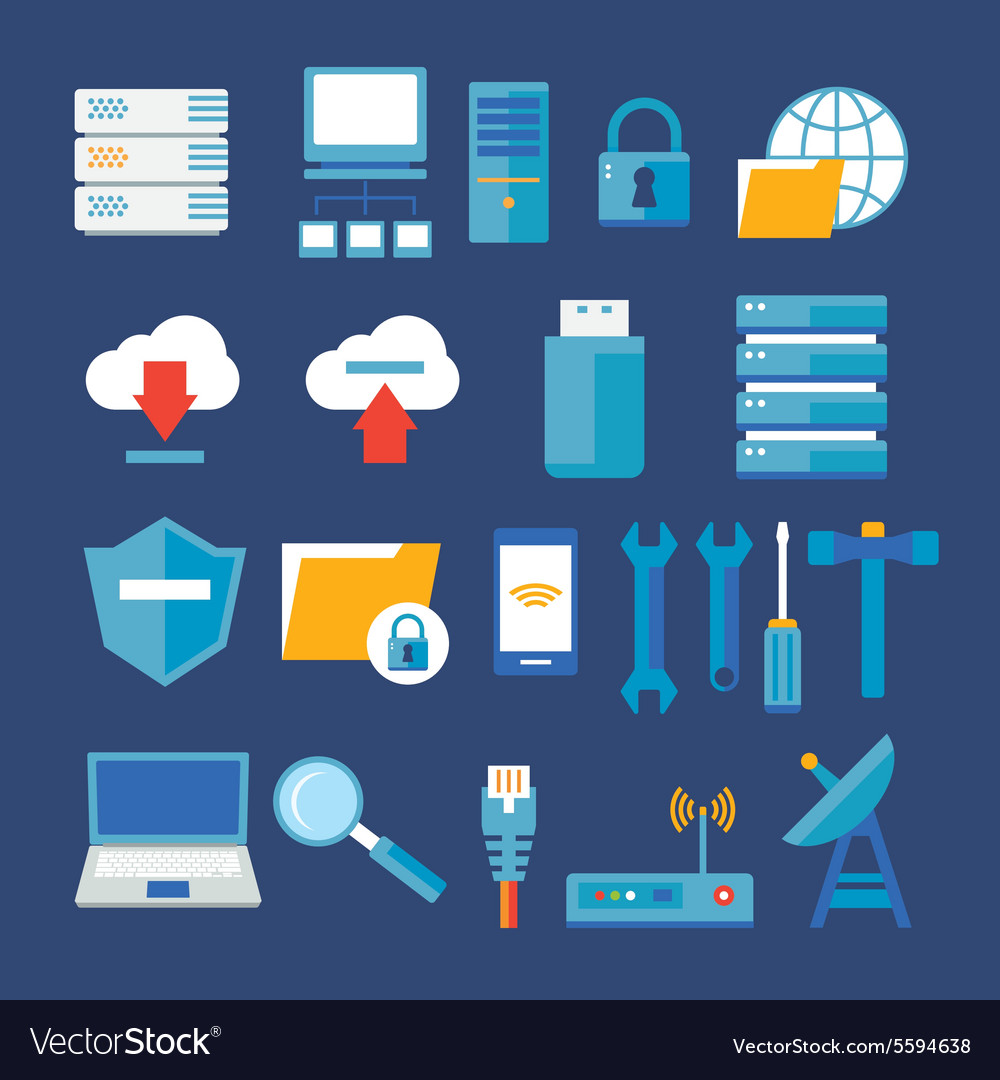 Computer network and database flat icon vector