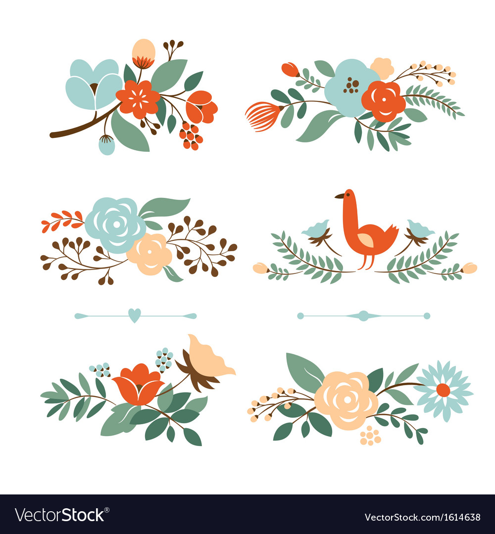 Set of botanical graphic elements vector