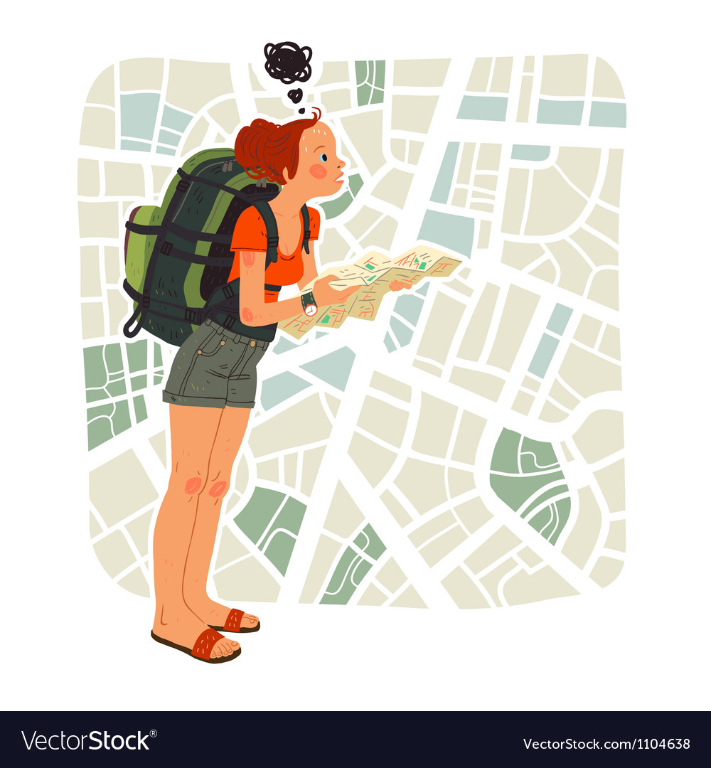 Tourist girl with map in the city vector