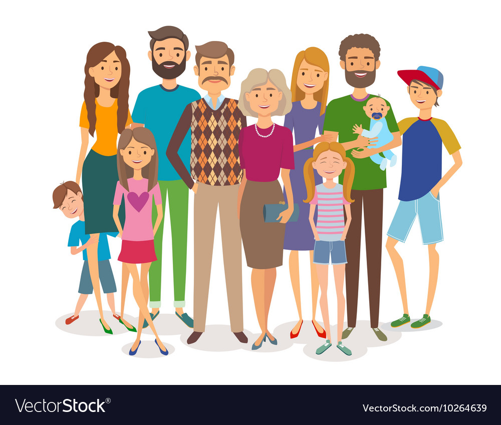Big happy family several generations vector