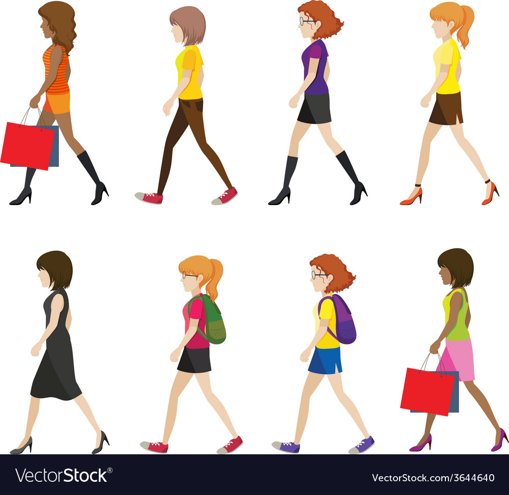 Faceless ladies walking vector