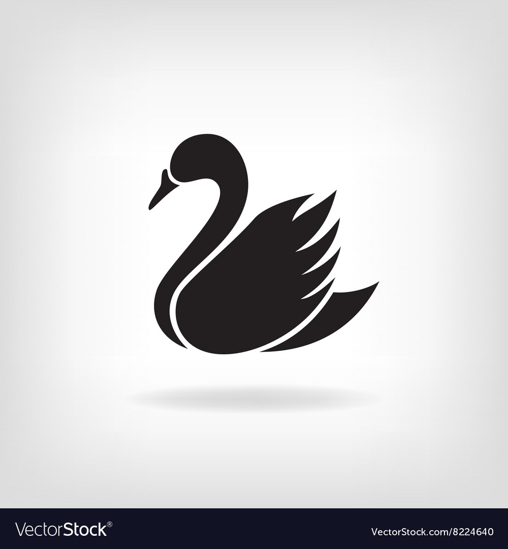 Stylized silhouette of swan on a light background vector