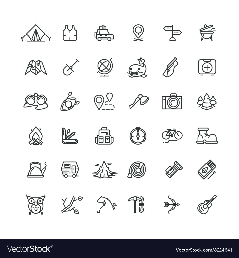 Camping and outdoor line icons set vector