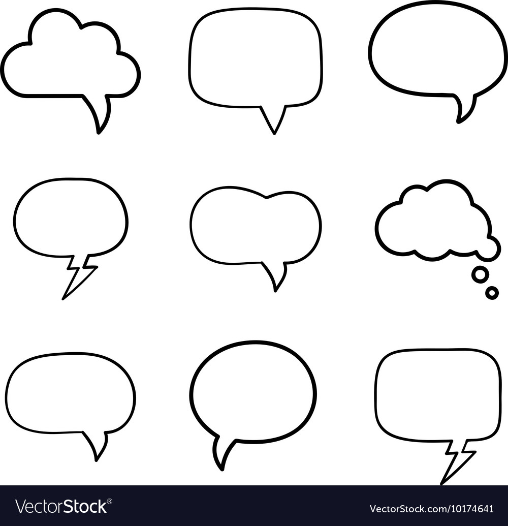 Minimal handdrawn speech bubbles set vector