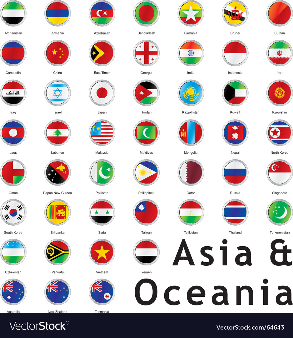 Asia round flags vector