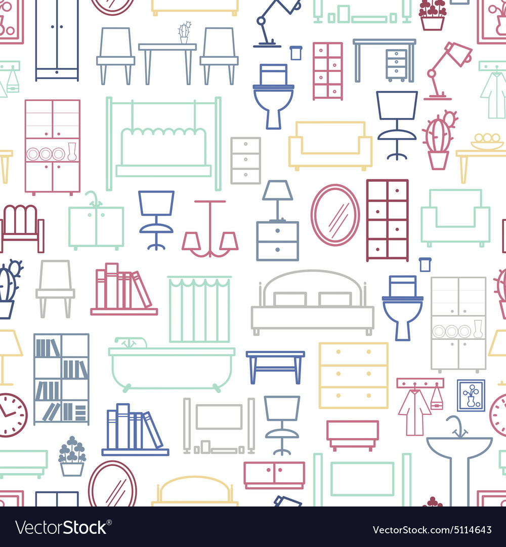 Seamless furniture pattern vector