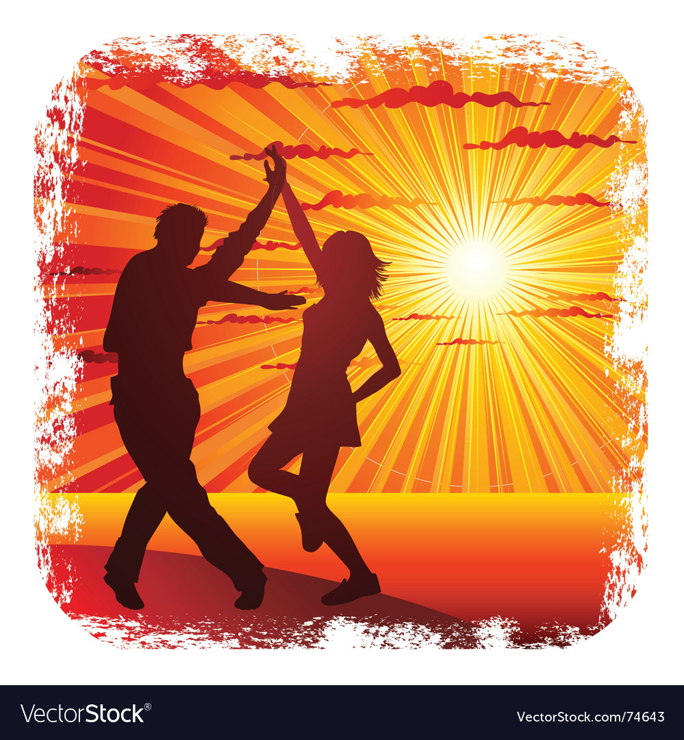 Young couple dancing vector