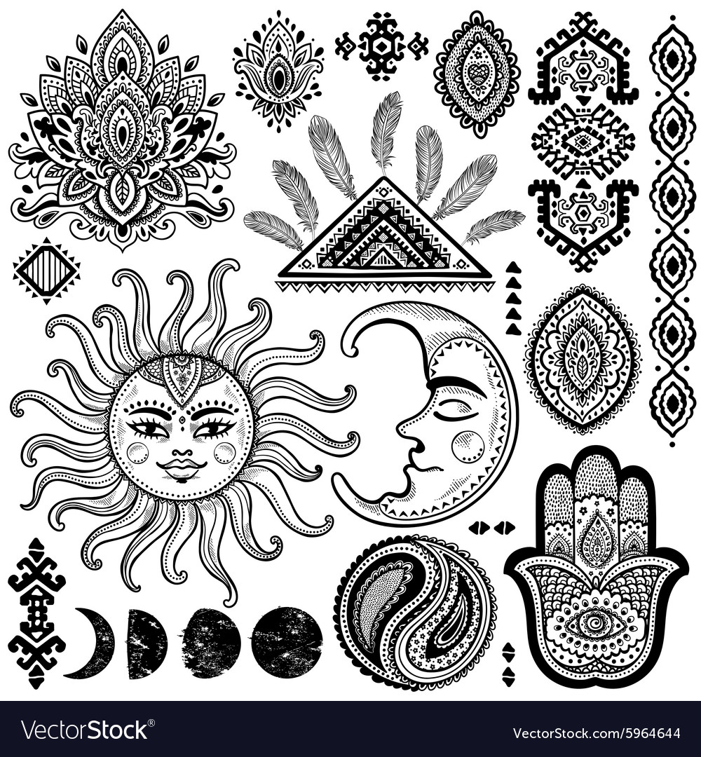Sun moon and ornaments vintage set vector