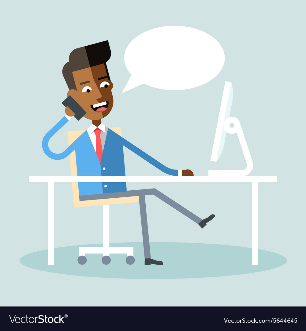African american manager sitting and talking phone vector