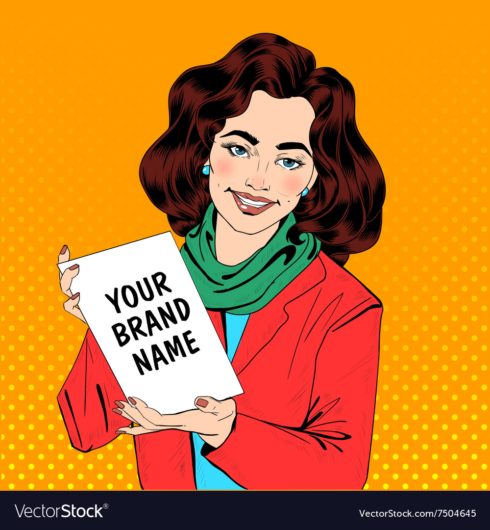 Girl in pop art style holding banner vector