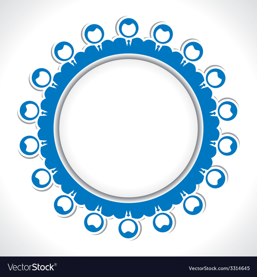 Team of people arrange in round circle vector