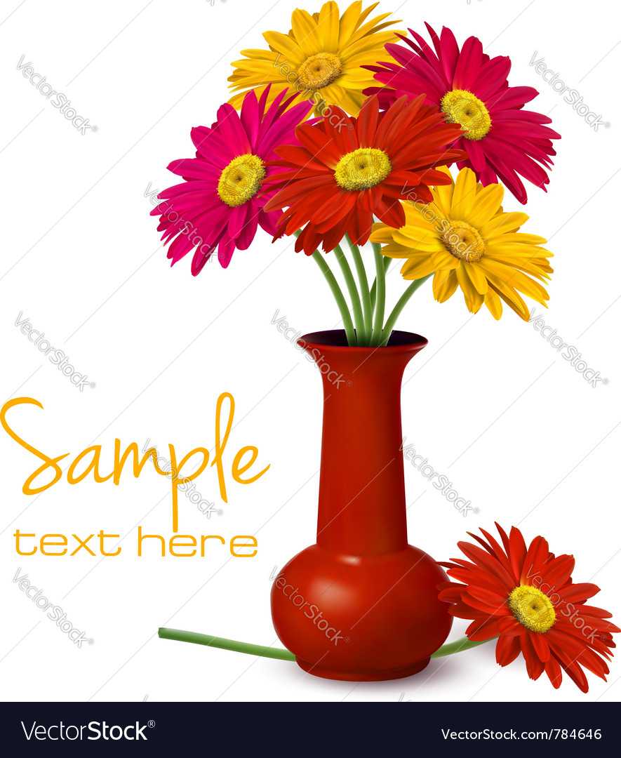 Flowers in vase vector