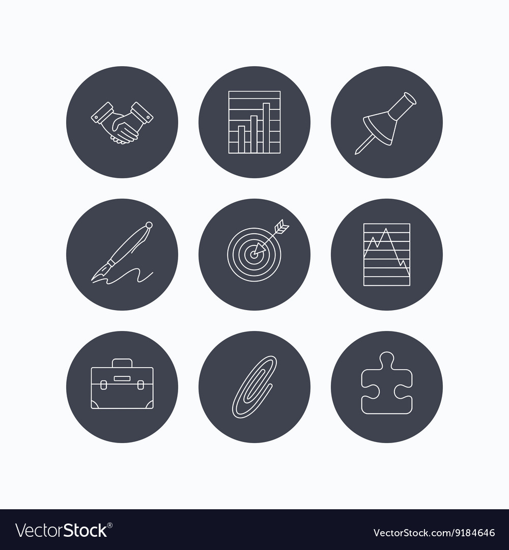 Handshake graph charts and target icons vector