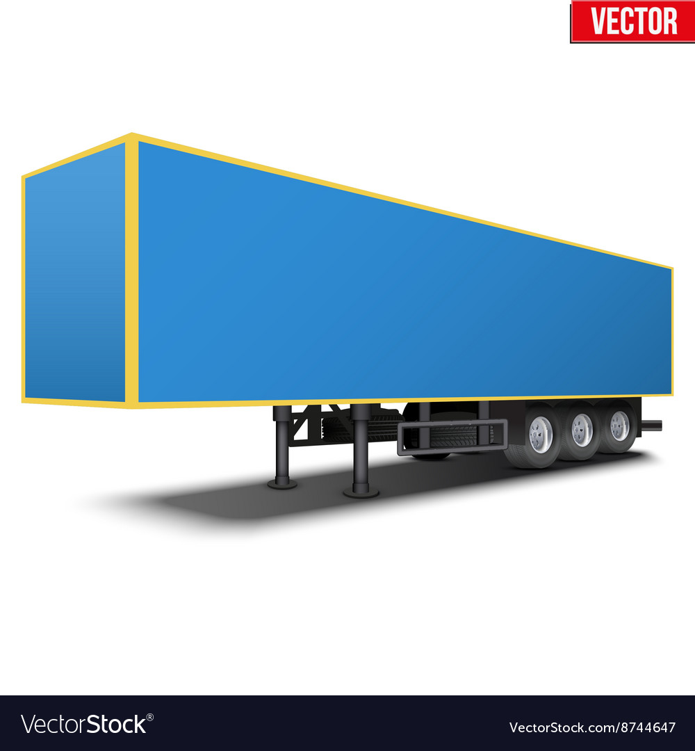 Blank blue parked semi trailer vector