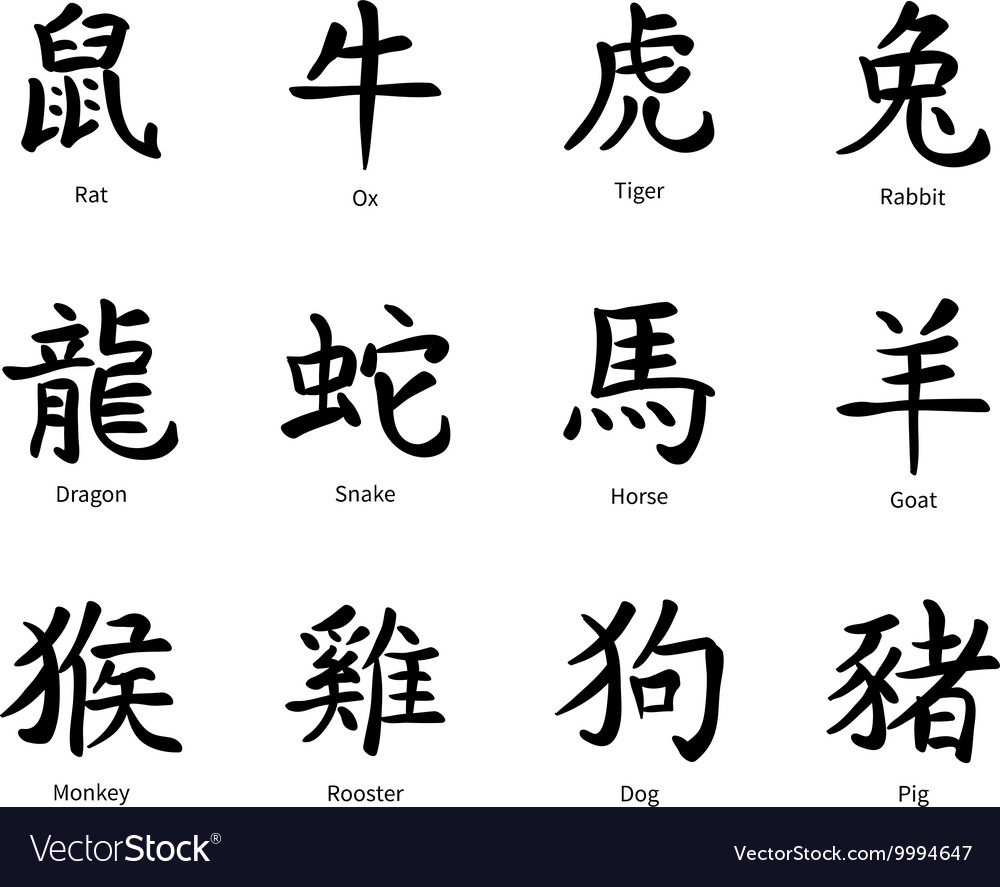 Chinese zodiac symbols black hieroglyphs isolated vector