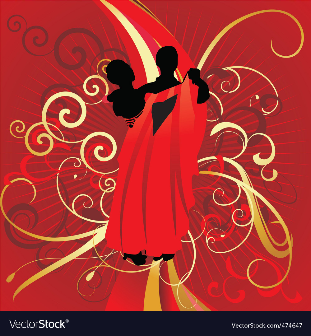 Dancing couple on red backdrop vector