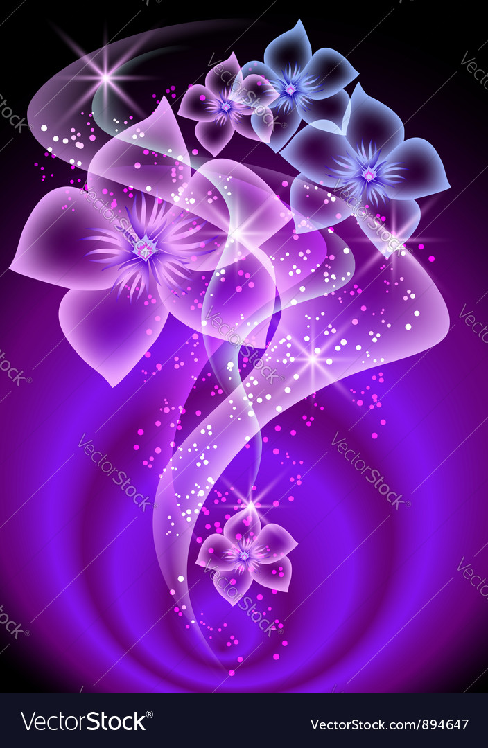 Smoke and transparent flowers vector