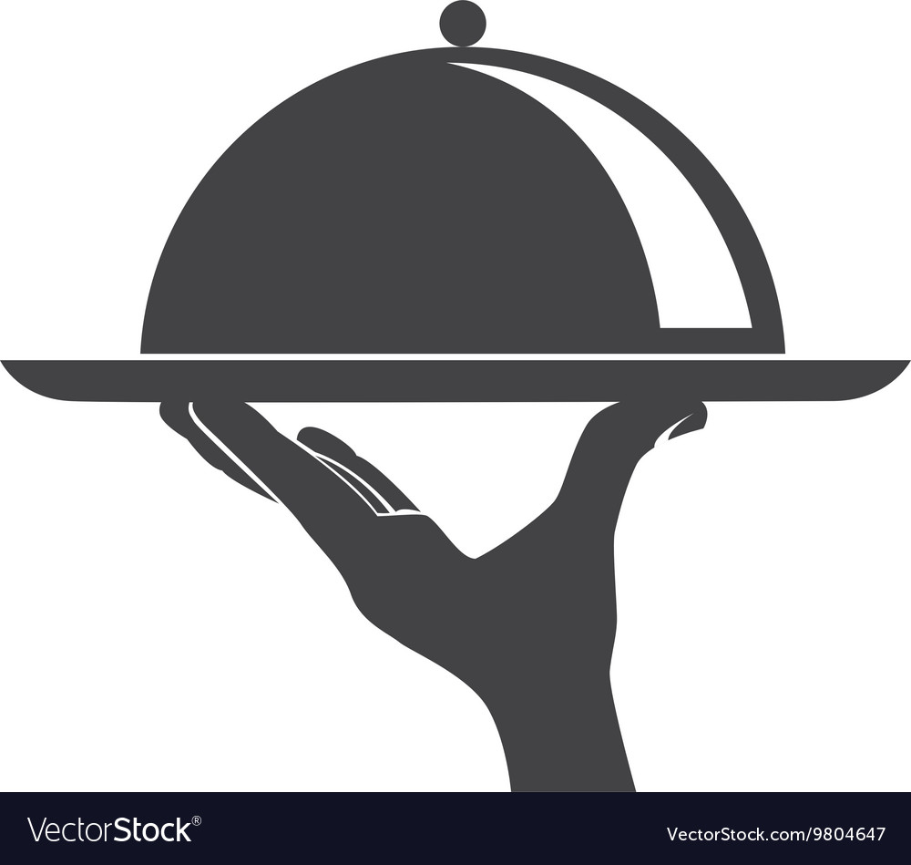 Waiter serving a dish vector