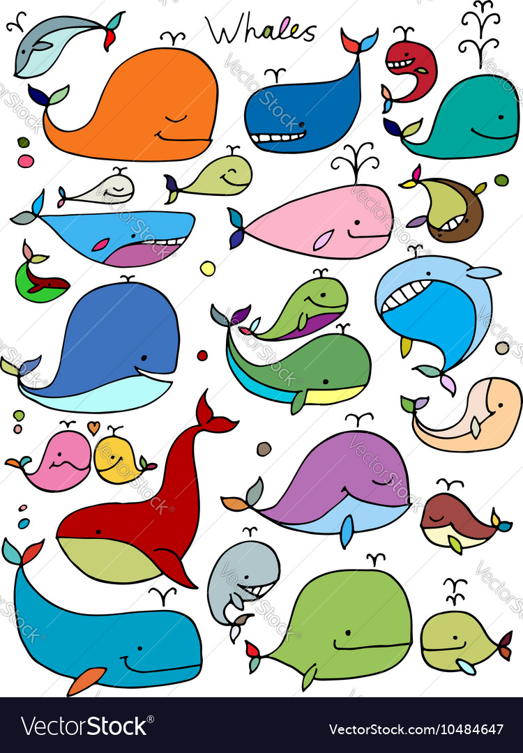 Whales collection sketch for your design vector