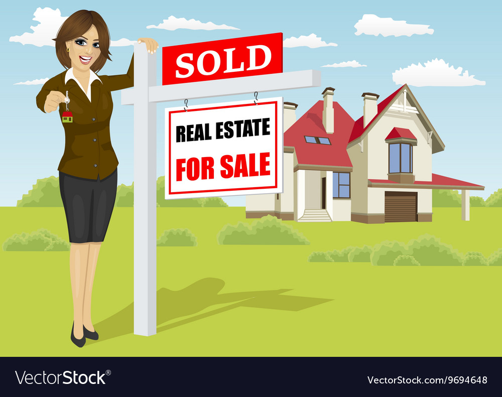 Real estate agent standing next to sold sign vector