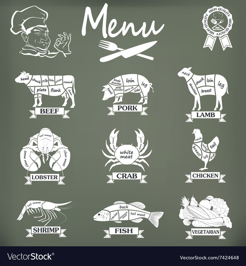 Set of butcher shop labels and design elementsn vector