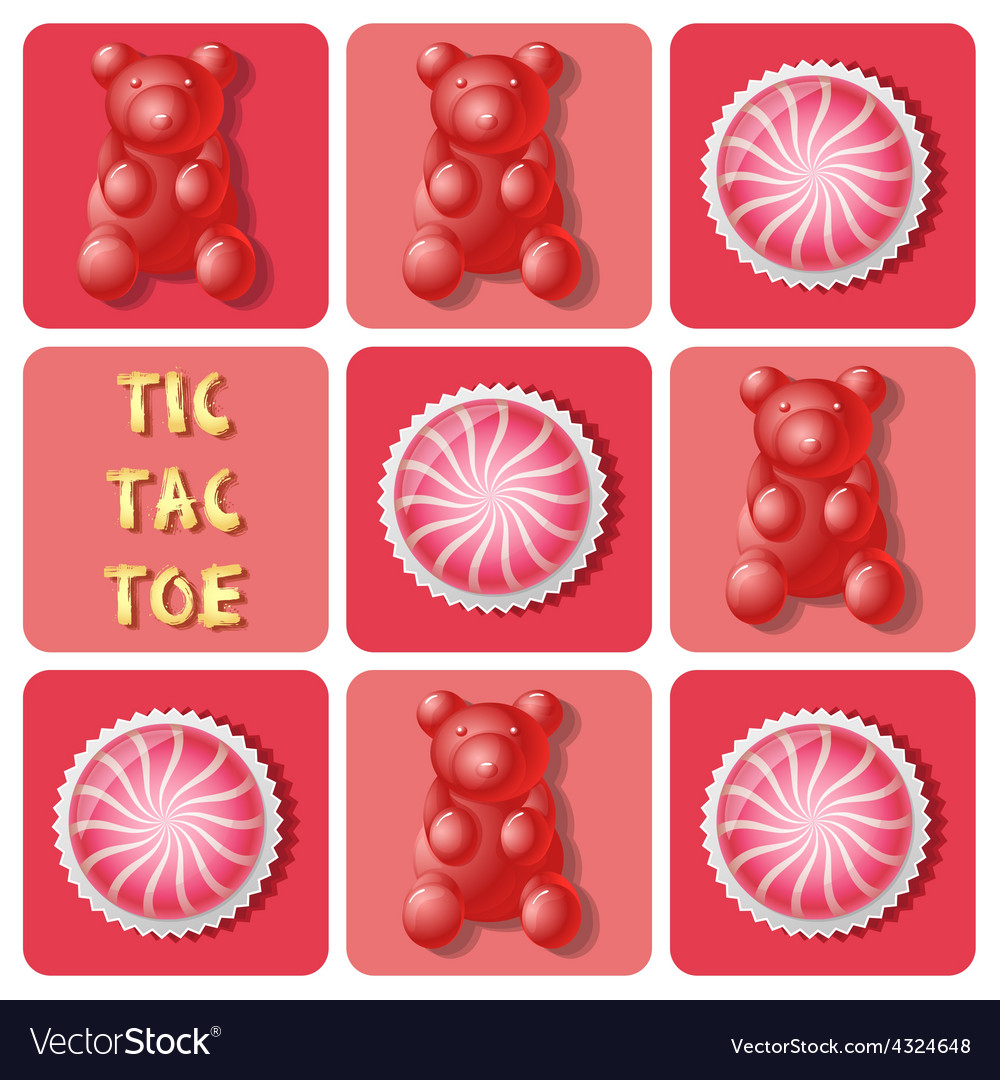 Tictactoe of strawberry cake ball and jelly gum vector