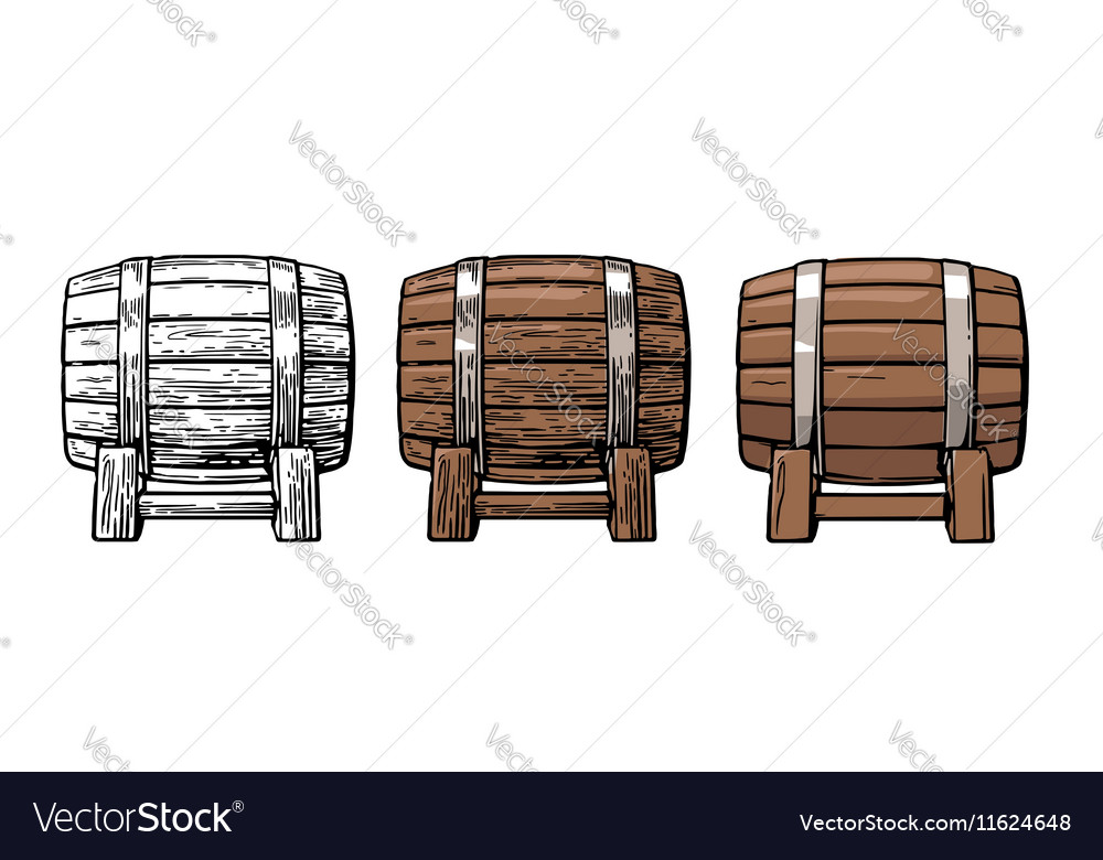 Wooden barrel color vintage engraving and flat vector