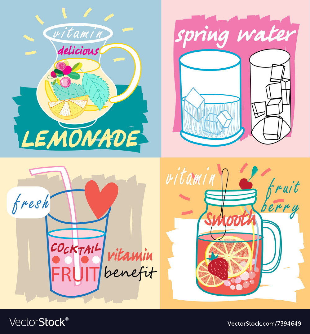 Different fruit drinks hand drawn style vector