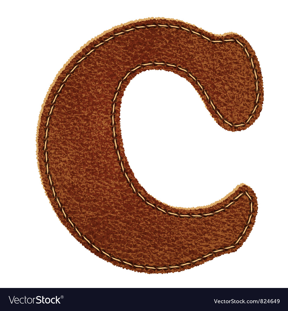 Leather textured letter c vector