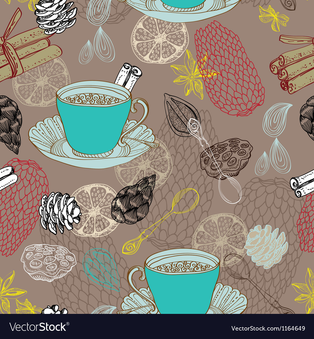 Seamless doodle background with tea vector