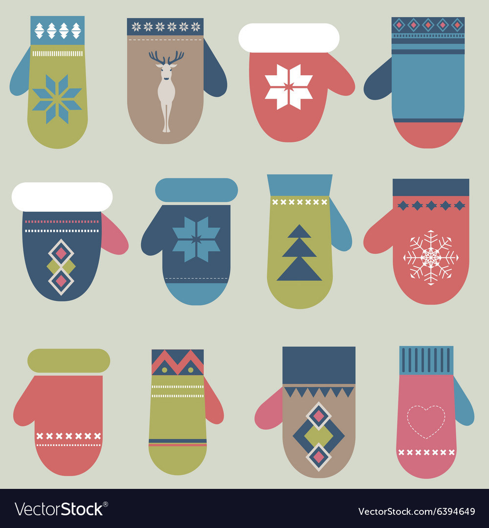 Set of winter mittens vector