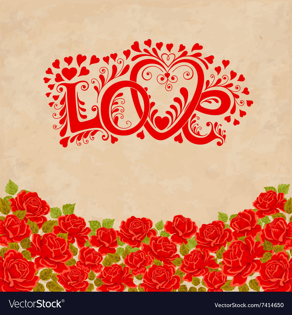 Love hand lettering valentines day card with red vector