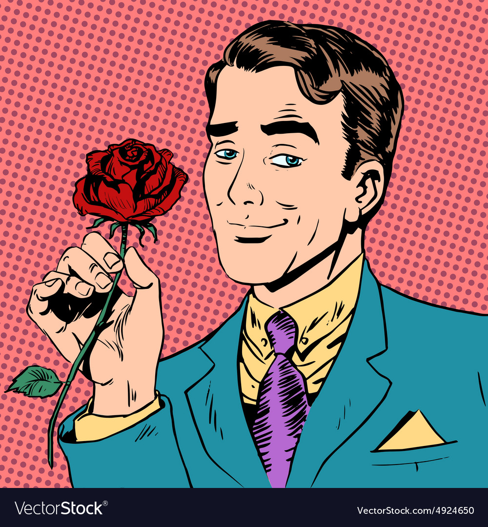 Man flower dating love meeting art pop retro vector