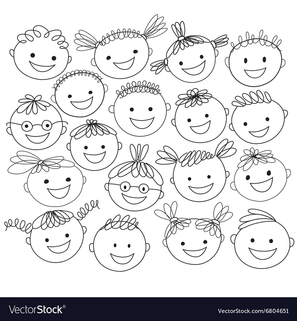 Kids heads expand vector
