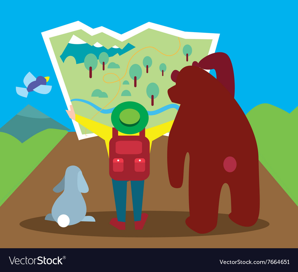 Outdoor walking camping looking way vector