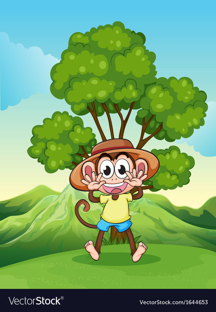 A playful monkey at the hilltop near the tree vector