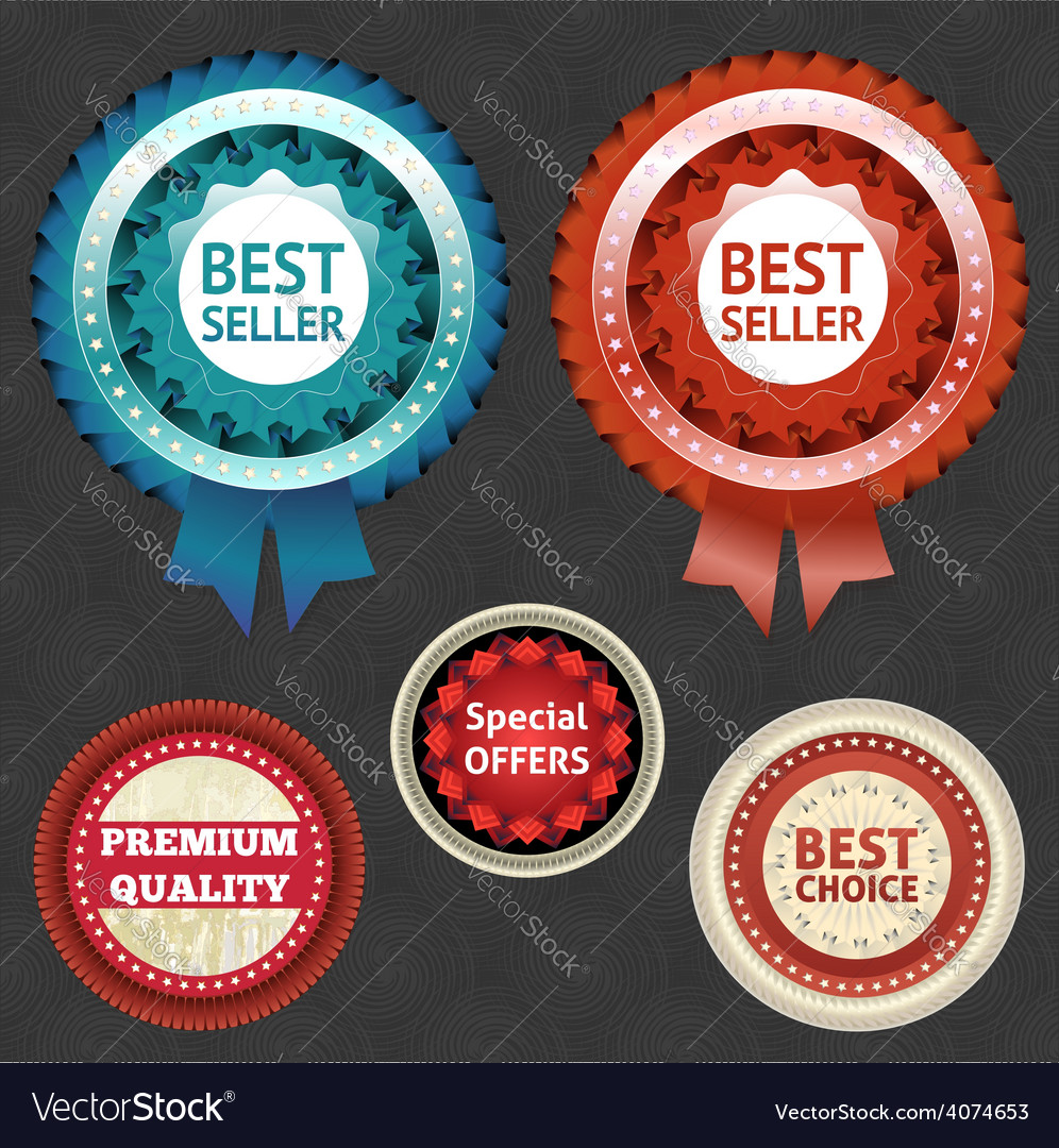 Best seller and choice labels with ribbon vector