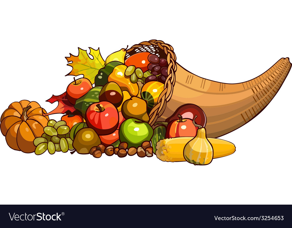 Cornucopia wicker basket with autumn fruits vector