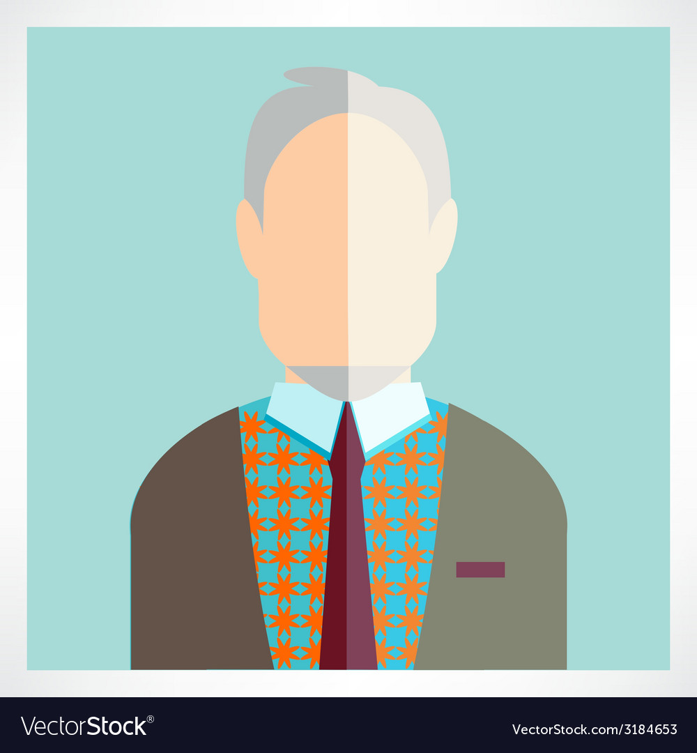 Old man flat icons collection vector