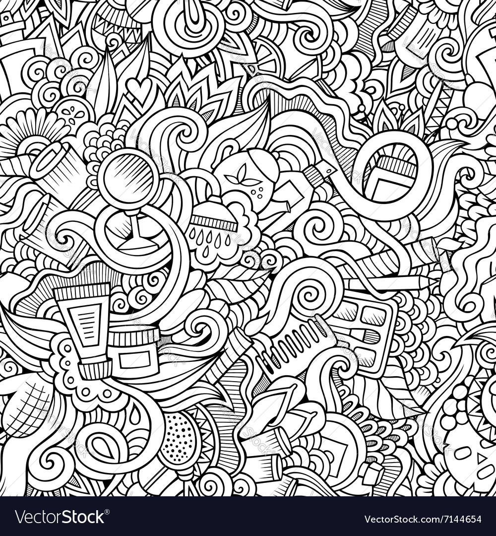 Seamless pattern with beauty and cosmetics vector