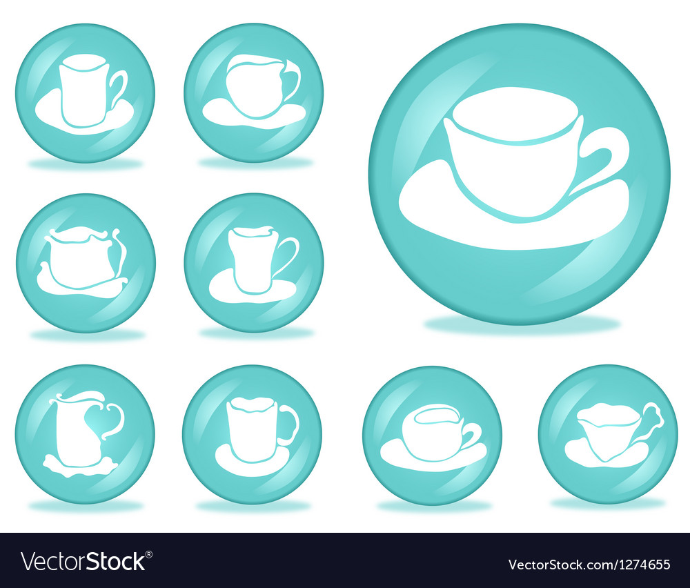 Set of cups buttons vector